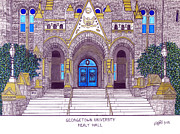 College Buildings Drawings Mixed Media Originals - Georgetown University by Frederic Kohli