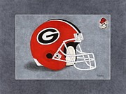 Sec Framed Prints - Georgia Bulldogs Helmet Framed Print by Herb Strobino