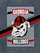 Mascot Painting Metal Prints - Georgia Bulldogs Poster Metal Print by Herb Strobino