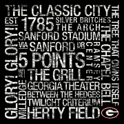 Athletic Framed Prints - Georgia College Colors Subway Art Framed Print by Replay Photos