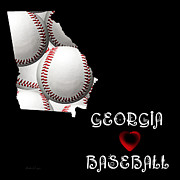 Abstract Map Posters - Georgia Loves Baseball Poster by Andee Photography
