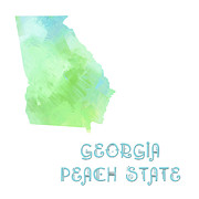 Abstract Map Mixed Media - Georgia - Peach State - Map - State Phrase - Geology by Andee Photography
