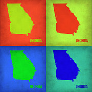 World Map Digital Art Metal Prints - Georgia Pop Art Map 1 Metal Print by Irina  March