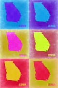Georgia Framed Prints - Georgia Pop Art Map 2 Framed Print by Irina  March