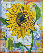 Map Paintings - Georgia Sunflower by Random Act aka Andrea LaHue