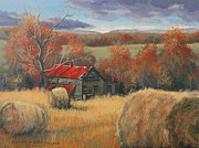 Egg Tempera Art - Georgia Valley in Autumn by Peter Muzyka