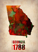 Modern Poster Metal Prints - Georgia Watercolor Map Metal Print by Irina  March