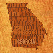 Georgia Mixed Media Posters - Georgia Word Art State Map on Canvas Poster by Design Turnpike