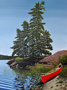 Trees Paintings - Georgian Bay Beached Canoe by Kenneth M  Kirsch