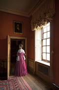 Pleated Skirt Framed Prints - Georgian Woman Wearig A Pink Dress In The Drawing Room Of An 18t Framed Print by Lee Avison