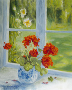 Multicolor Paintings - Geranium morning light by Veikko Suikkanen