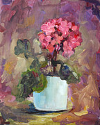Potted Plant Paintings - Geranium by Patsy Zedar