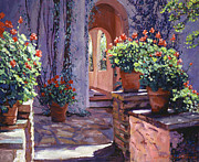 Terra Cotta Paintings - Geranium Walkway by David Lloyd Glover