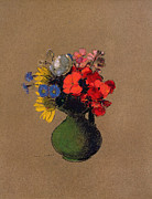 Field Pastels Prints - Geraniums and flowers of the field Print by Odilon Redon