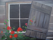 Cabin Window Painting Framed Prints - Geraniums at log cabin Framed Print by Glenda Barrett