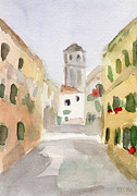 Church Prints Paintings - Geraniums Cannaregio Watercolor Painting of Venice Italy by Beverly Brown Prints
