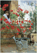 Red Geraniums Painting Posters - Geraniums Poster by Childe Hassam