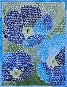 Blue Flowers Tapestries - Textiles Posters - Geraniums Poster by Patty Caldwell