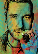 Charcoal Mixed Media - Gerard Butler - stylised pop art drawing sketch poster by Kim Wang