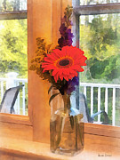 Daisies Prints - Gerbera Daisy by Kitchen Window Print by Susan Savad