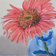 Gerber Daisy Pastels Originals - Gerbera Daisy with Blue Glass by Joanne Grant