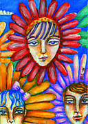 Gerbera Drawings - Gerbera Girls by Penny Lewin-Hetherington