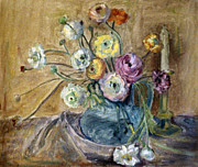 Forget Me Not Paintings - Gerberas in a blue water pitcher with candlestick  by Zoe Schminke