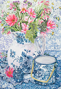 Blue And White Painting Prints - Gerberas in a Coalport Jug with Blue Pots Print by Joan Thewsey