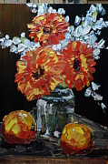 Reynolds Paintings - Gerberas in Mason Jar by James Reynolds