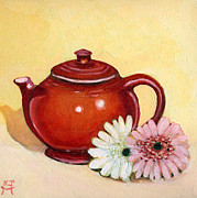 Teapot Paintings - Gerberas by Katherine Miller
