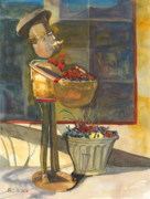 Man Sculpture Prints - Gere-a-delis Brass Chef Print by Sandy Linden