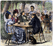 Waitress Photo Framed Prints - German Beer Garden, 1870 Framed Print by Granger