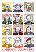 Richard Drawings - German composers by Paul Helm