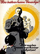 Political Drawings Framed Prints - German political poster shows a soldier standing in front of a woman and her children Framed Print by Anonymous