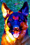 Cute Dogs Digital Art Prints - German Shepard - Electric Print by Wingsdomain Art and Photography
