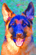 Cute Dogs Digital Art Prints - German Shepard - Painterly Print by Wingsdomain Art and Photography