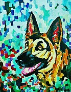 German Shepards Framed Prints - German Shepard Watercolor Framed Print by Halifax artist John Malone