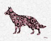 Pink Dots  Posters - German Shepherd - Animal Art Poster by Anastasiya Malakhova