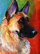 Impressionistic Dog Art Drawings - German Shepherd Dog portrait by Svetlana Novikova