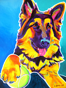Alicia Vannoy Call Prints - German Shepherd - Mace Print by Alicia VanNoy Call