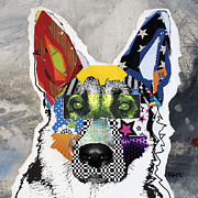 Mixed Media Abstract Posters - German Shepherd Moose II Poster by Michel  Keck