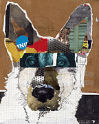 Mixed Media Art Mixed Media Posters - German Shepherd Moose Poster by Michel  Keck