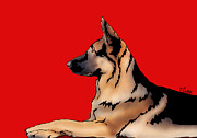 Tony Clark - German Shepherd on Red