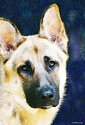 Animal Lover Posters - German Shepherd - Soul Poster by Sharon Cummings