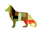 Colorful Art. Prints - German Sheppard 2 Print by Irina  March