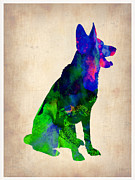 German Sheppard Prints - German Sheppard Watercolor Print by Irina  March