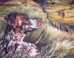 Shepard Posters - German Shorthaired Pointer and Pheasants Poster by L A Shepard