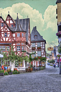 Cobblestone Street Prints - German Village along Rhine River Print by Juli Scalzi