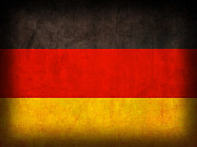 Berlin Mixed Media Prints - Germany Flag Vintage Distressed Finish Print by Design Turnpike