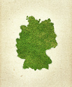 Germany Grass Map Print by Aged Pixel